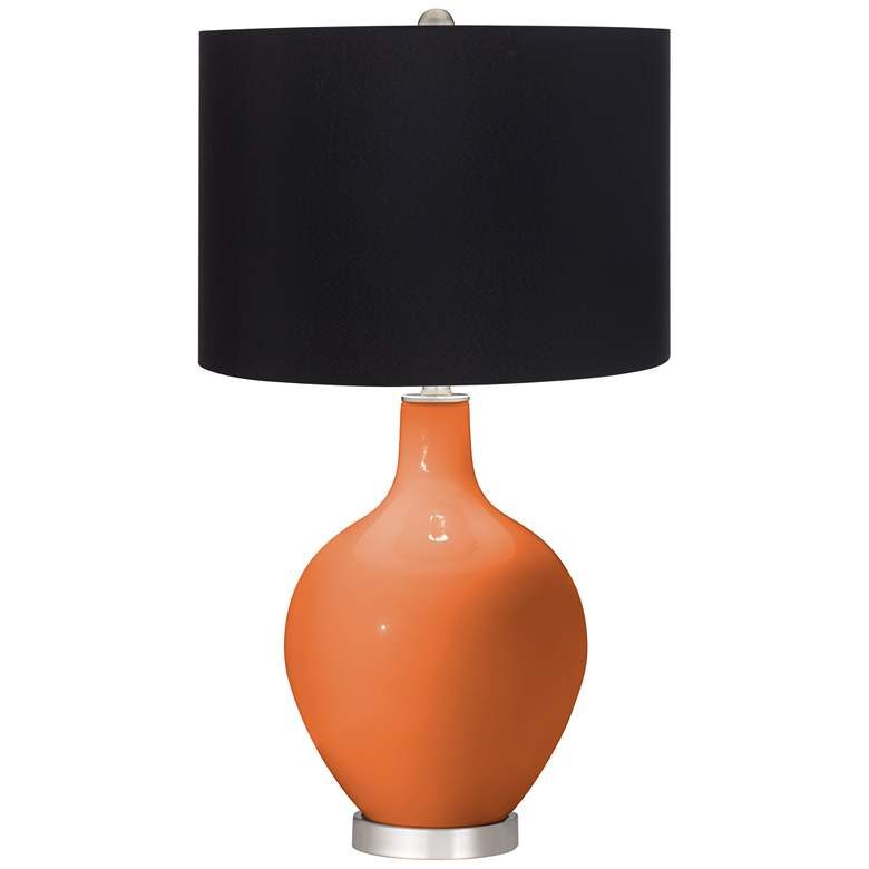 Celosia Orange Ovo Table Lamp with Black Shade