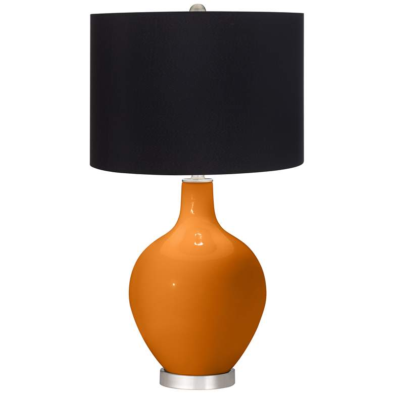 Cinnamon Spice Ovo Table Lamp with Black Shade