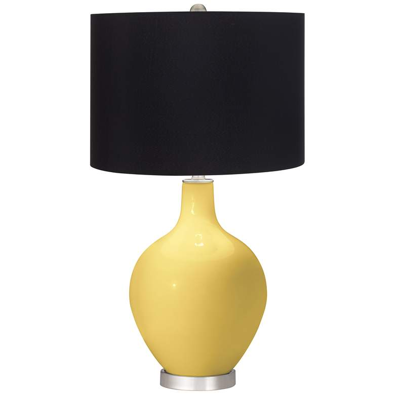 Daffodil Yellow Ovo Table Lamp with Black Shade