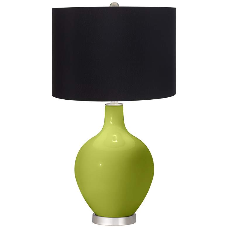 Olive Green Ovo Table Lamp with Black Shade