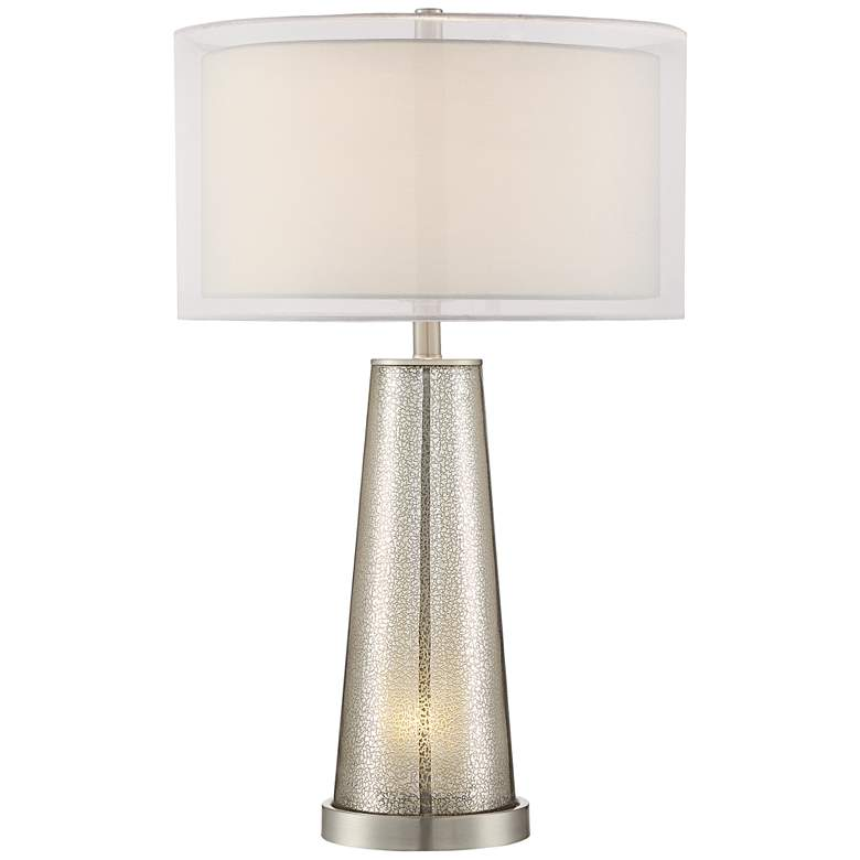Possini Euro Zara Nickel Mercury Glass Night Light Table Lamp
