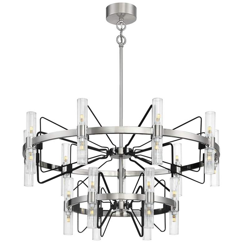 "Mass Transit 35""W Brushed Nickel 30-Light 2-Tier Chandelier"