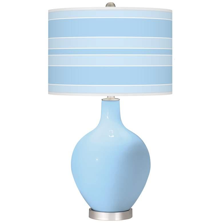 Wild Blue Yonder Bold Stripe Ovo Table Lamp