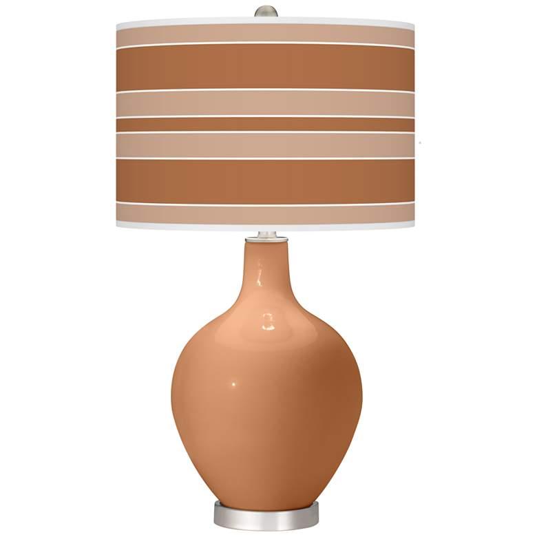 Burnt Almond Bold Stripe Ovo Table Lamp