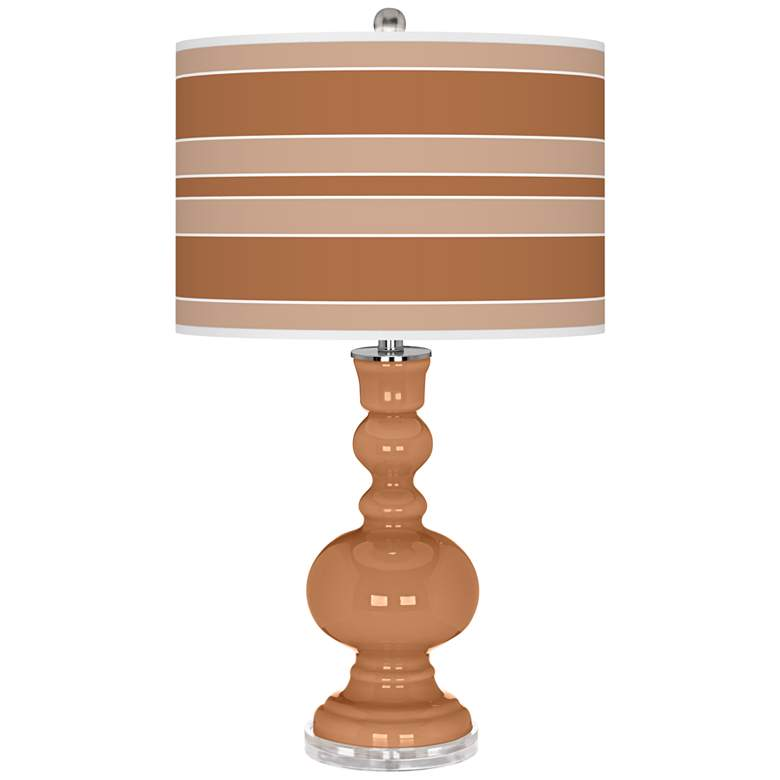 Burnt Almond Bold Stripe Apothecary Table Lamp