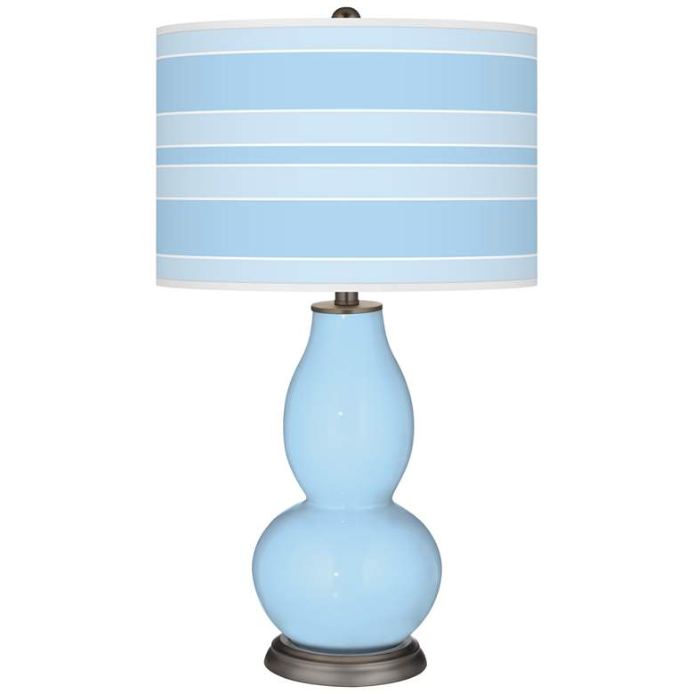 Wild Blue Yonder Bold Stripe Double Gourd Table Lamp
