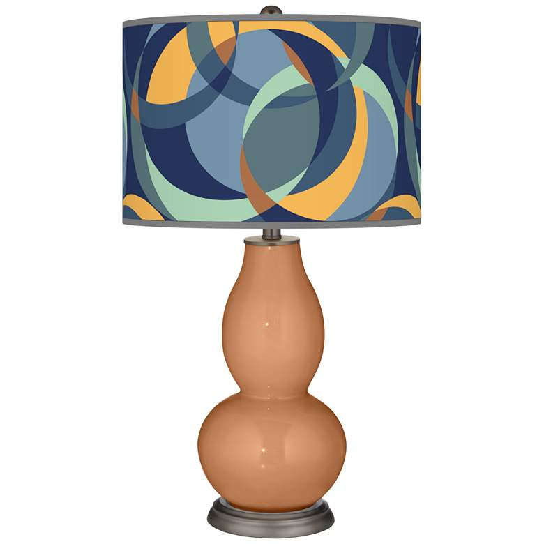 Burnt Almond Drifting Circles Double Gourd Table Lamp