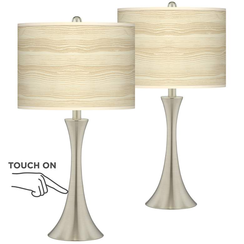 Birch Blonde Trish Brushed Nickel Touch Table Lamps Set of 2