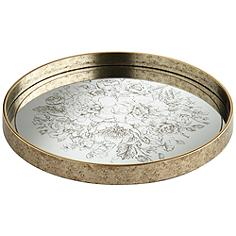 Floral Center Painted Gold and White Round Decorative Tray