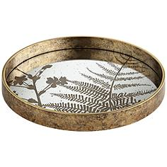 Fern Painted Gold and White Round Decorative Tray