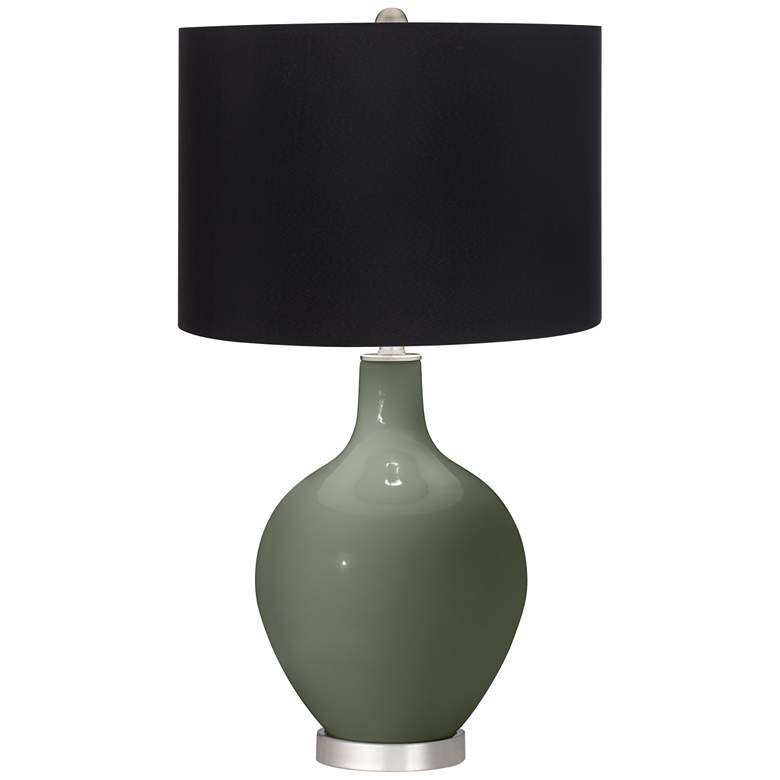 Deep Lichen Green Ovo Table Lamp with Black Shade