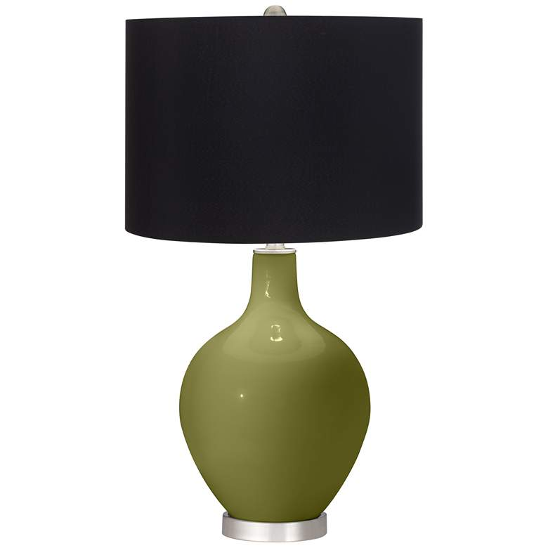 Rural Green Ovo Table Lamp with Black Shade