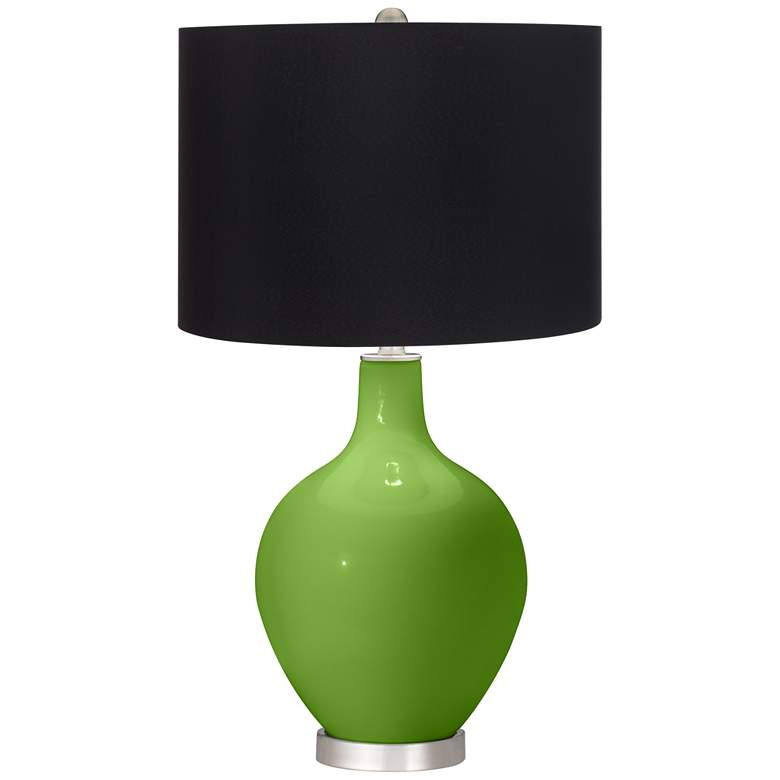 Rosemary Green Ovo Table Lamp with Black Shade