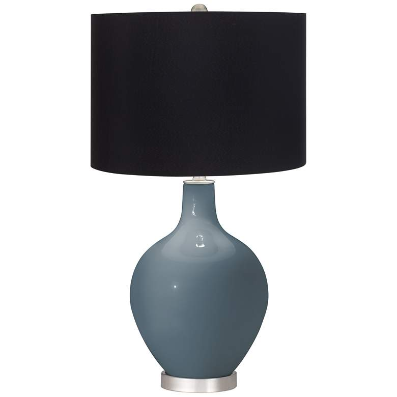 Smoky Blue Ovo Table Lamp with Black Shade