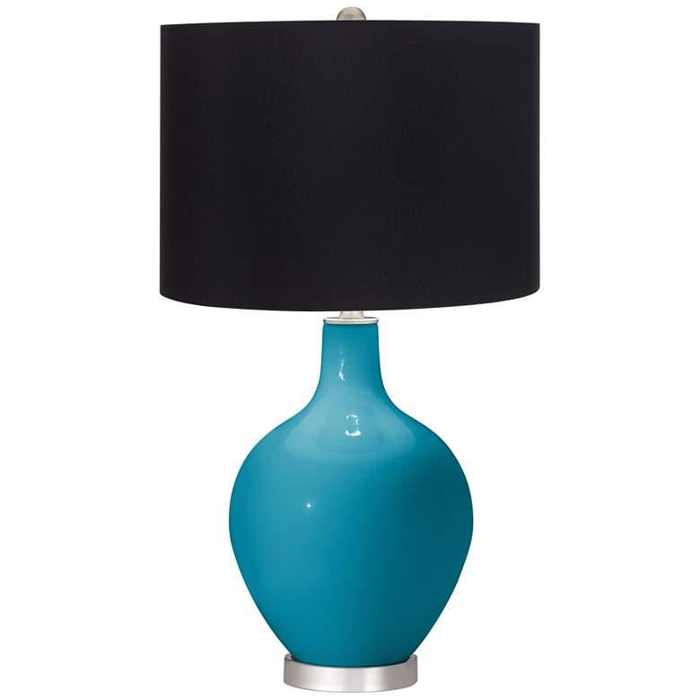 Caribbean Sea Ovo Table Lamp with Black Shade