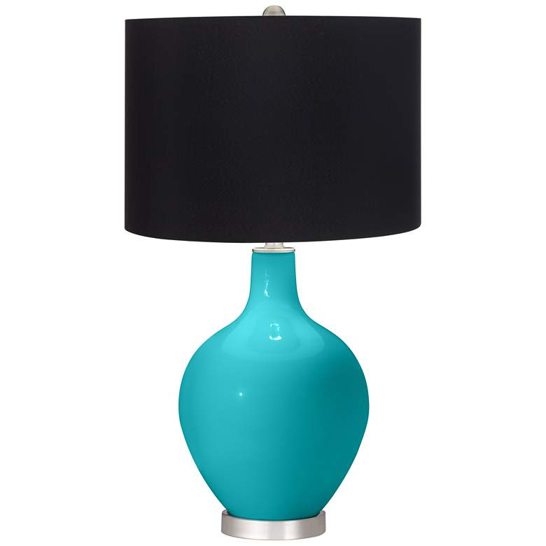 Surfer Blue Ovo Table Lamp with Black Shade