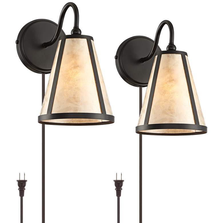Solano Mica Shade Plug-In Wall Lamps Set of 2