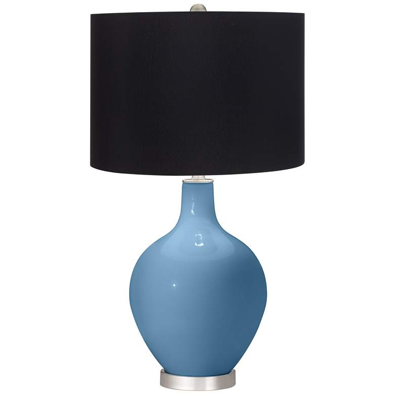 Secure Blue Ovo Table Lamp with Black Shade