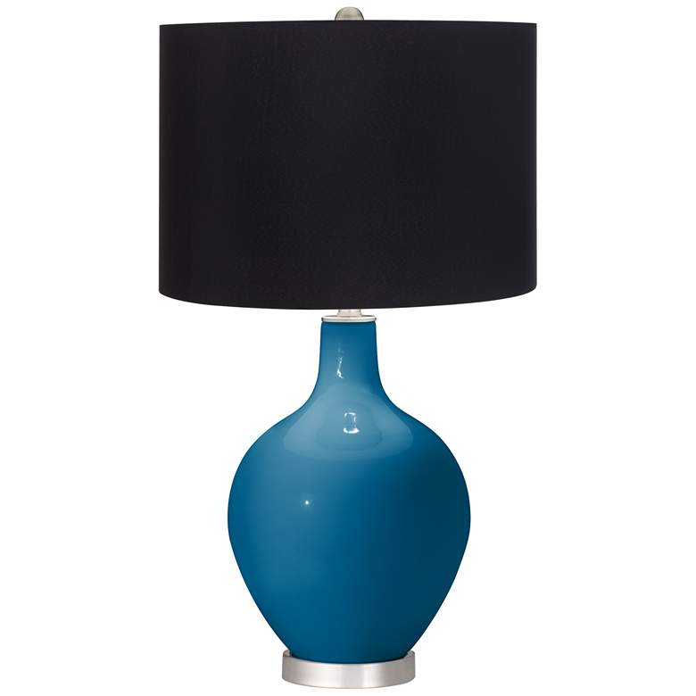 Mykonos Blue Ovo Table Lamp with Black Shade