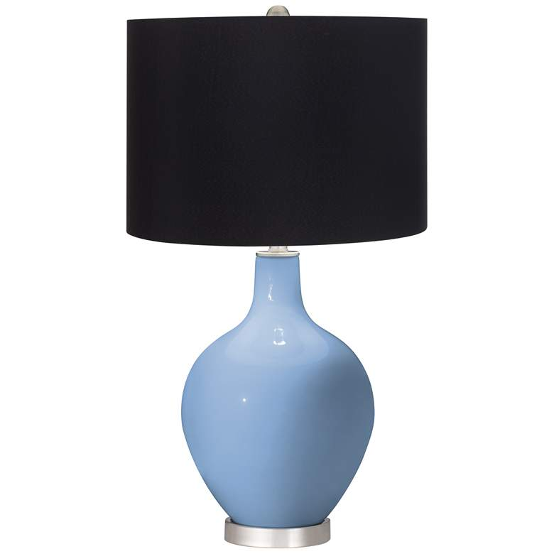 Placid Blue Ovo Table Lamp with Black Shade