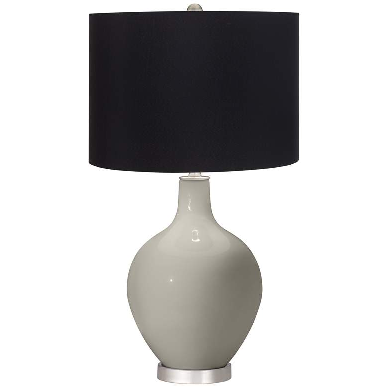 Requisite Gray Ovo Table Lamp with Black Shade