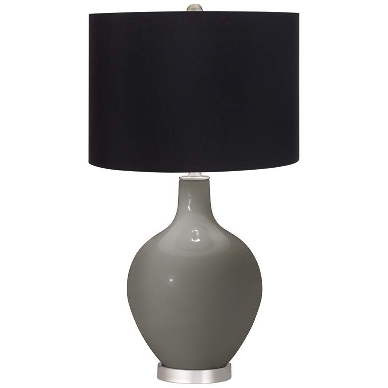 Gauntlet Gray Ovo Table Lamp with Black Shade