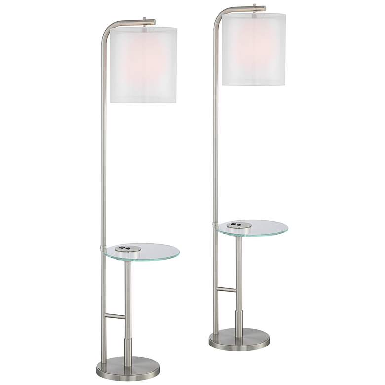 Sinclair Brushed Nickel Tray Table USB Floor Lamps Set of 2