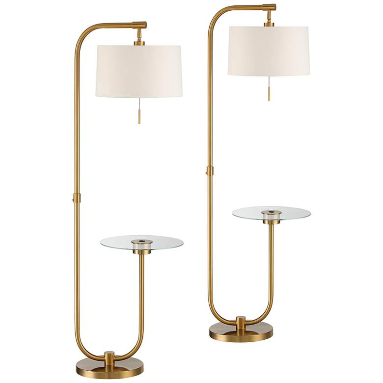 Volta Antique Brass USB Tray Table Floor Lamps Set of 2