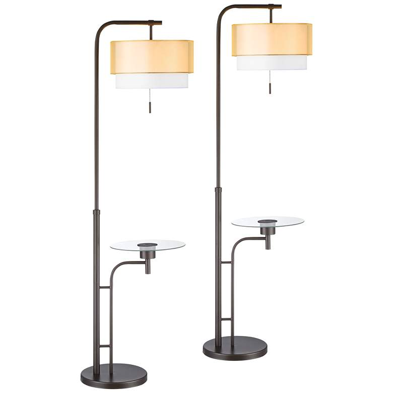 Dion Bronze Tray Table USB Floor Lamps Set of 2