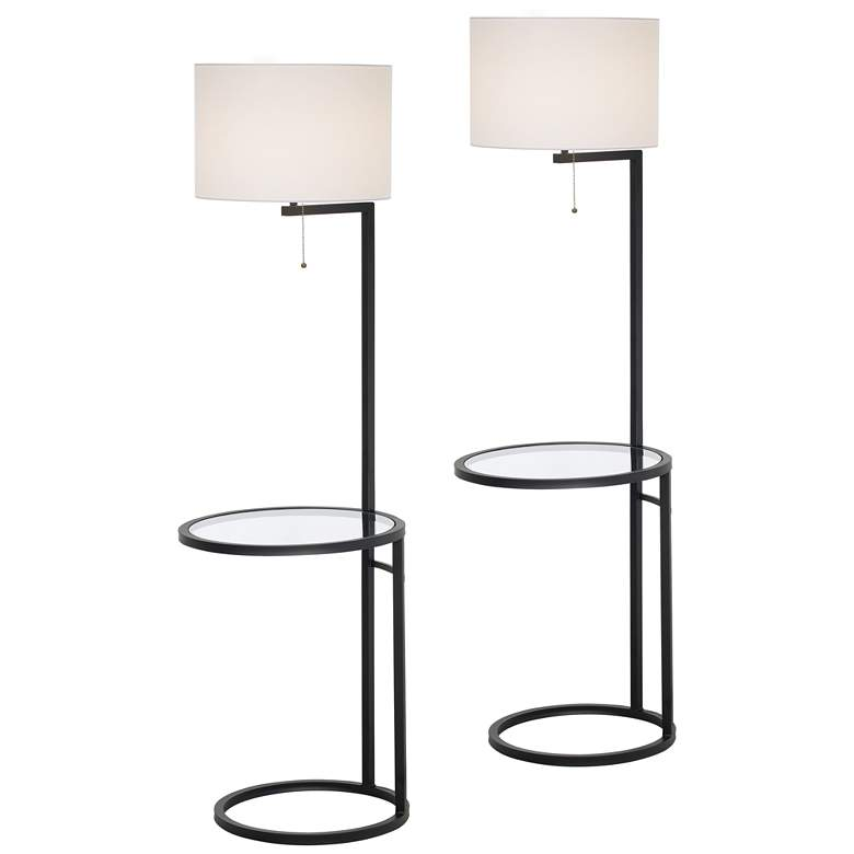 Space Saver Glass Tray Table Floor Lamp Set of 2