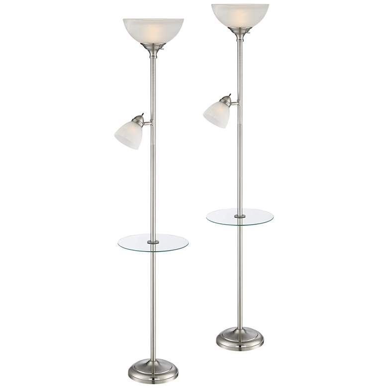 London Torchiere Tray Table Floor Lamps Set of 2