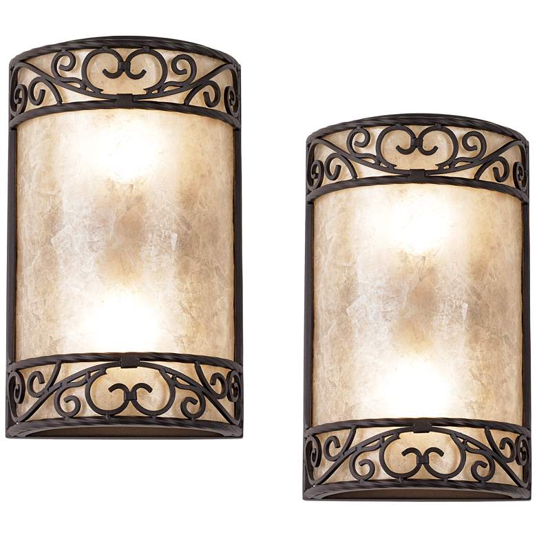 "Natural Mica 12 1/2"" High Wall Sconce Fixtures Set of 2"