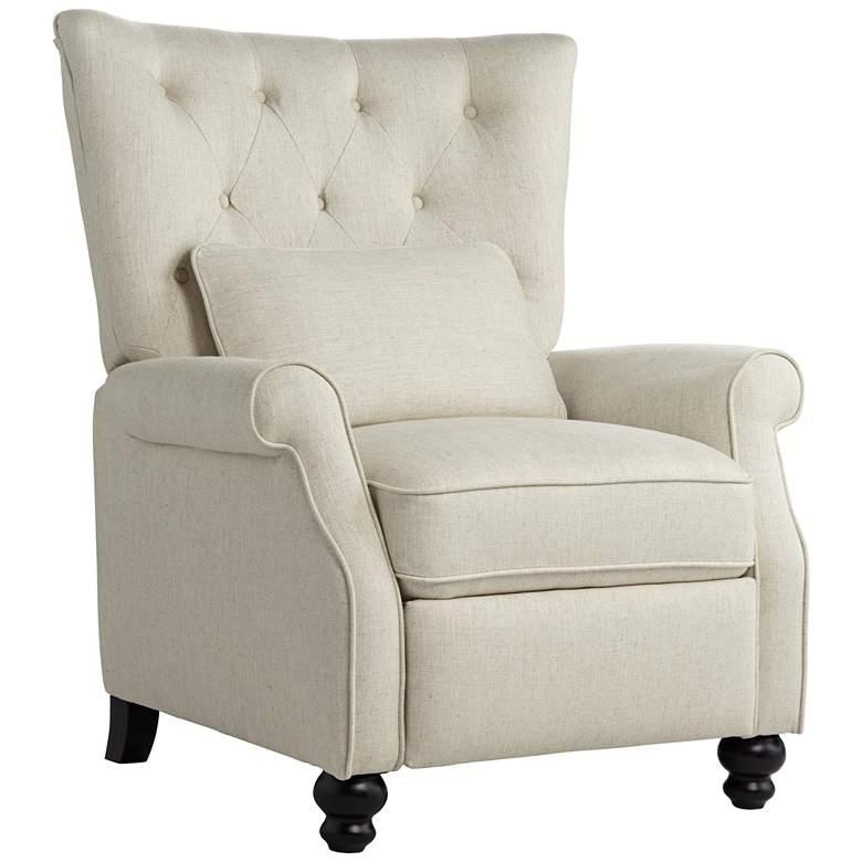 Bryce Natural Linen Push Back Recliner Chair