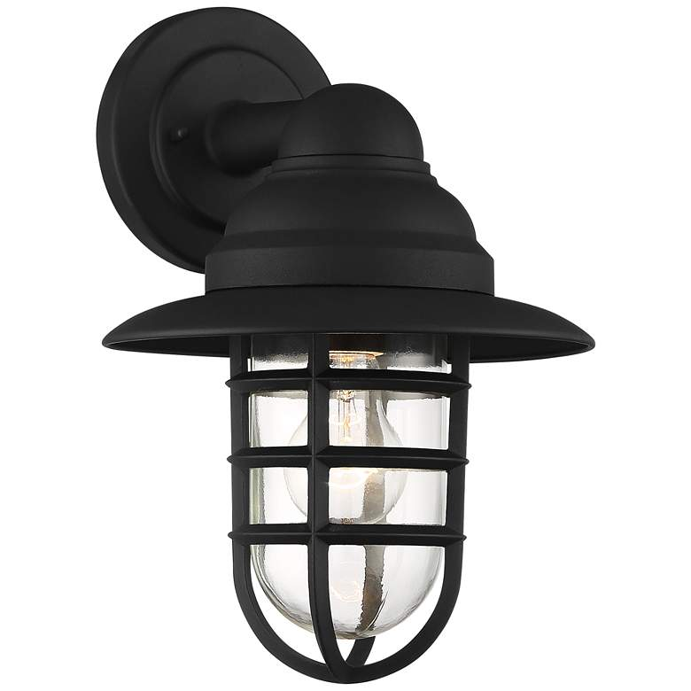 "Marlowe 13"" High Black Hooded Cage Outdoor Wall Light"