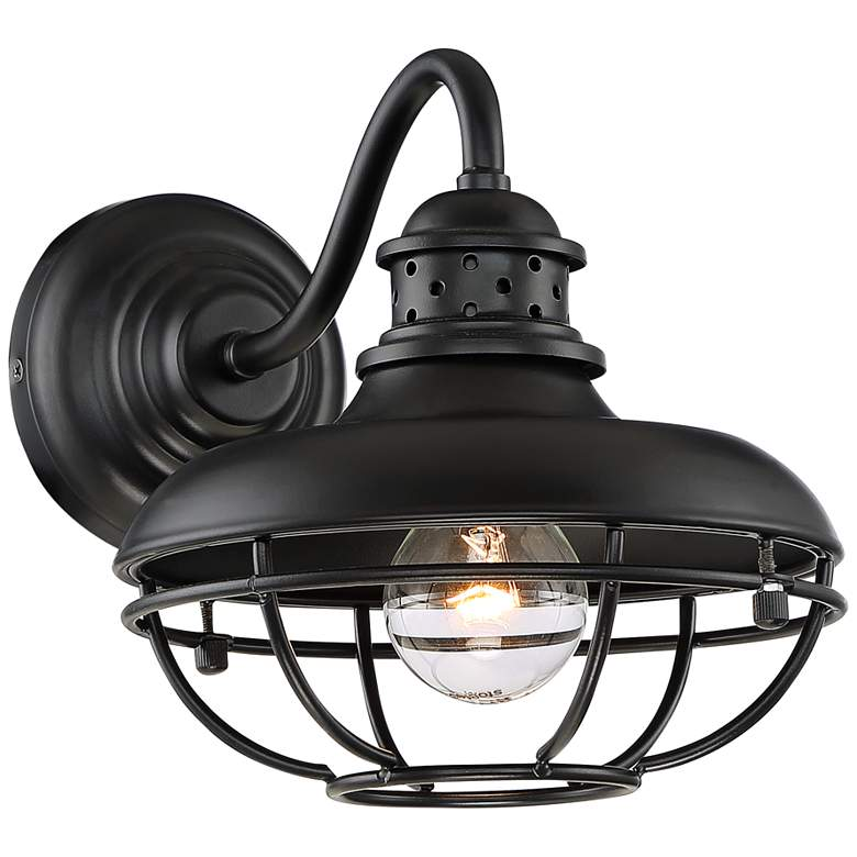 """Franklin Park 9"""" High Black Finish Metal Cage Outdoor Wall Light"""