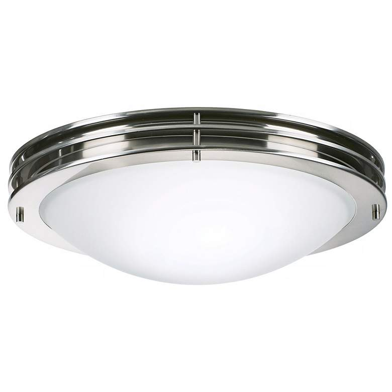 "Studio 16"" Wide Brushed Nickel White Bowl Ceiling Light"