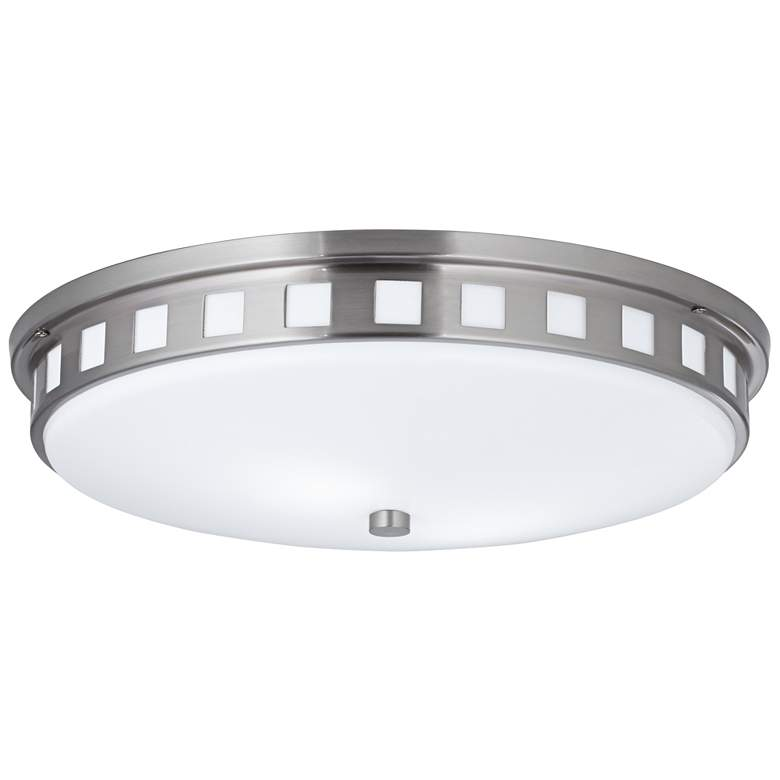 "Gerramonde 18"" Wide Brushed Nickel Round Ceiling Light"
