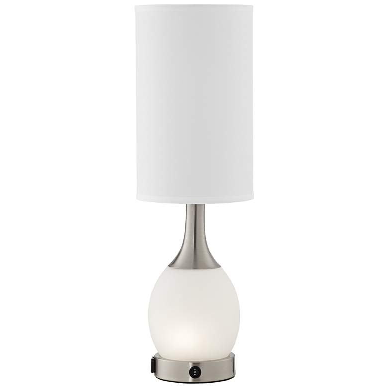 Yero Frosted White Glass Nightlight Table Lamp with Outlet