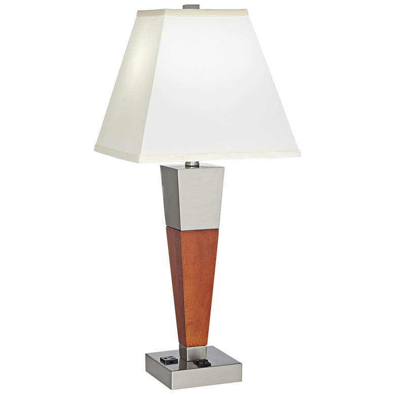 Hannegan Brushed Nickel Walnut Wood USB Outlet Table Lamp