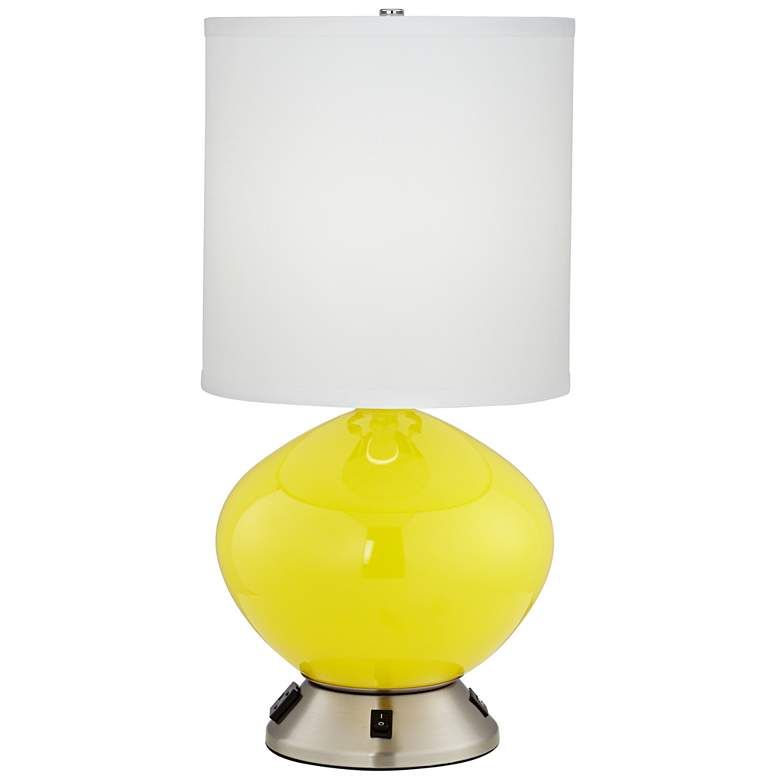 Vera Yellow Glass Accent Table Lamp with USB Port and Outlet