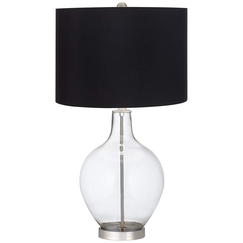 Clear Glass Fillable Ovo Table Lamp with Black Shade