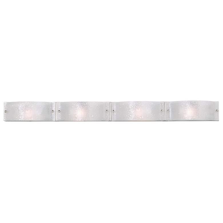 "Jalene 48"" Wide Brushed Nickel Art Glass 4-Light Bath Light"