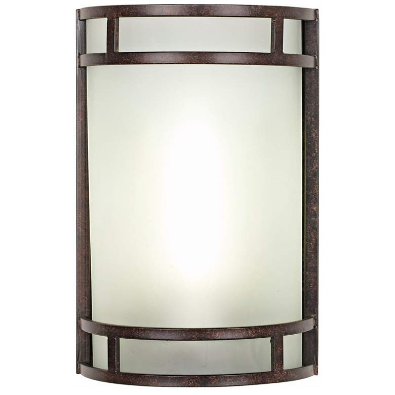 "Mira 12"" High Bronze Metal and Art Glass Domed Wall Sconce"