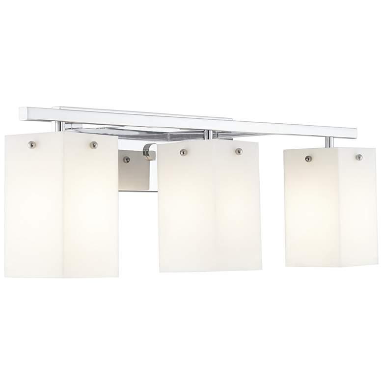 """Korie 27"""" Wide Polished Chrome L-Shaped 3-Light Bath Light"""