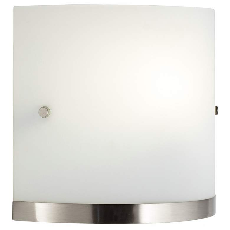 """Brasch 8 1/2""""H Brushed Nickel and Frosted Glass Wall Sconce"""