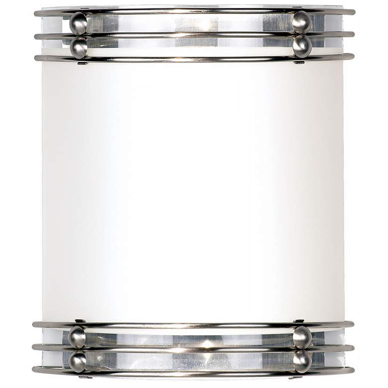 """Kamille 12"""" High Brushed Nickel and White Glass Wall Sconce"""