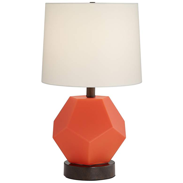 "Tango 19 3/4"" High Orange Etched Glass Accent Table Lamp"