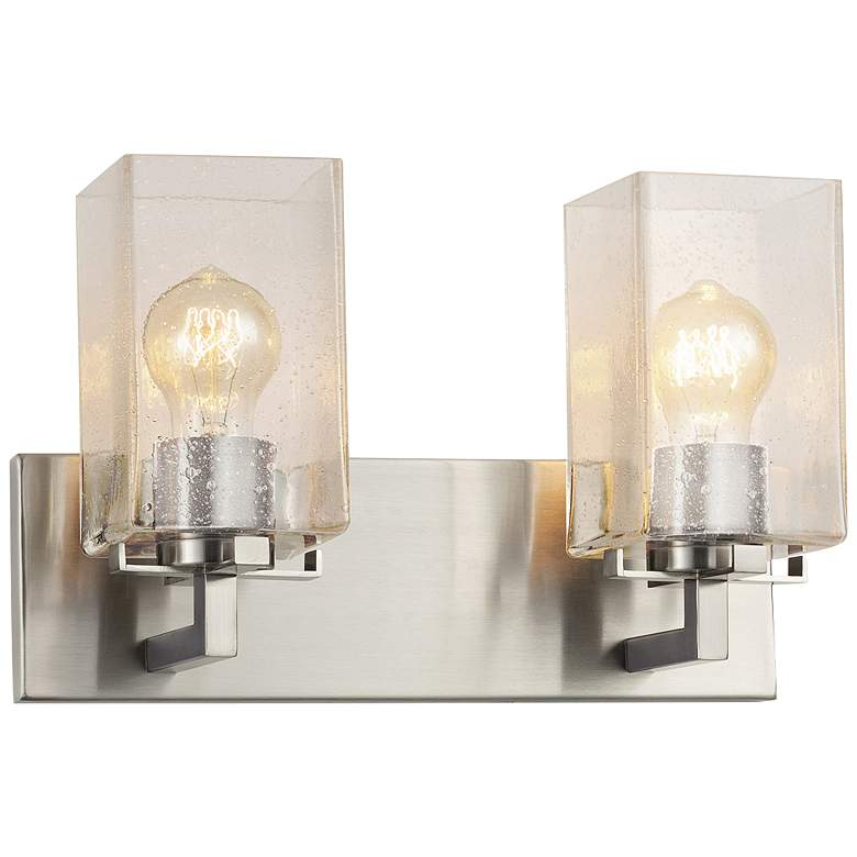 """Fusion™ Vice 9""""H Brushed Nickel 2-Light Wall Sconce"""