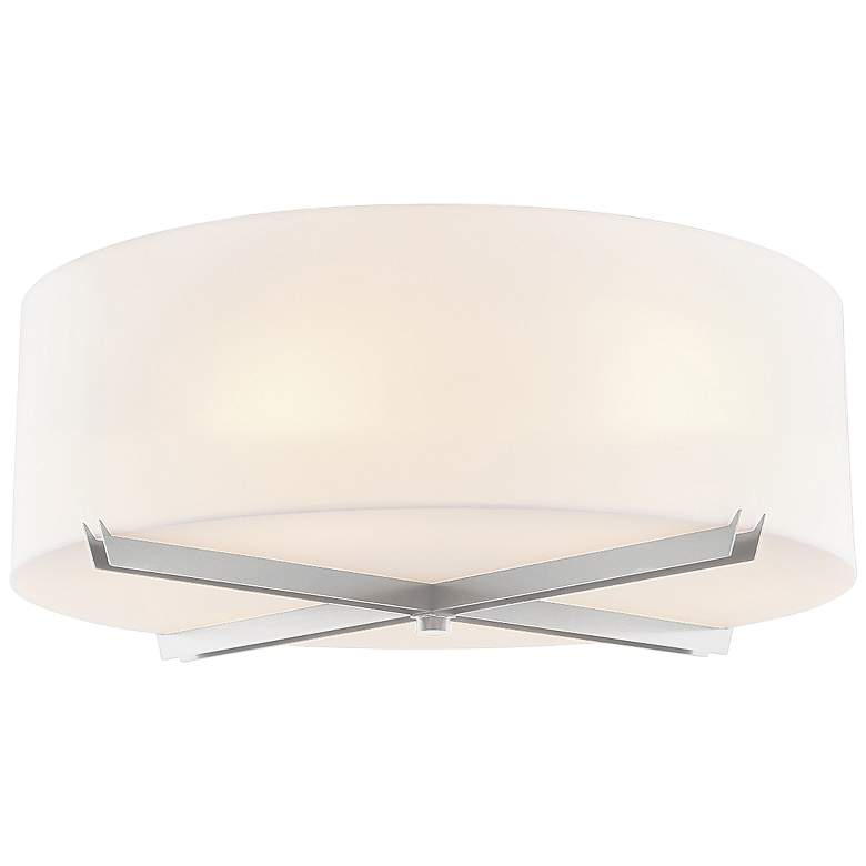 """Acryluxe™ Crossbar 18""""W Brushed Nickel Ceiling Light"""