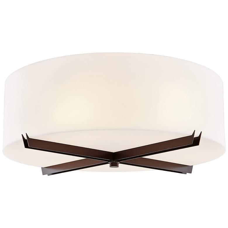 "Acryluxe™ Crossbar 18"" Wide Dark Bronze Ceiling Light"